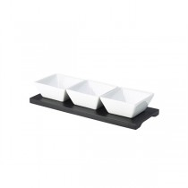 Black Rectangular Wood Dip Tray with 3 Dishes