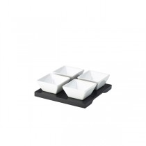 Black Square Dip Tray with 4 Dishes