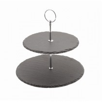 Natural Slate 2 Tier Cake Stand