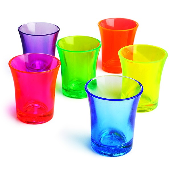 Econ Mixed Neon Reusable Polystyrene Shot Glasses CE 50ml