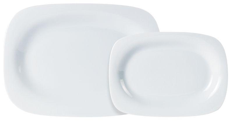 Porcelite White Rectangular Rimmed Plate 24 x 18cm