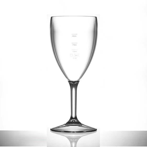 Elite Premium Polycarbonate Wine Glasses 14oz LCE at 125ml, 175ml & 250ml
