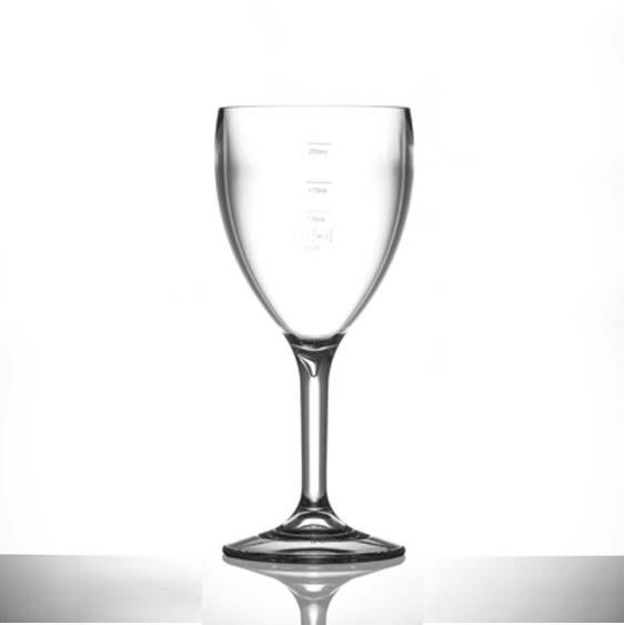 Elite Premium Polycarbonate Wine Glasses 11oz LCE at 125ml, 175ml & 250ml