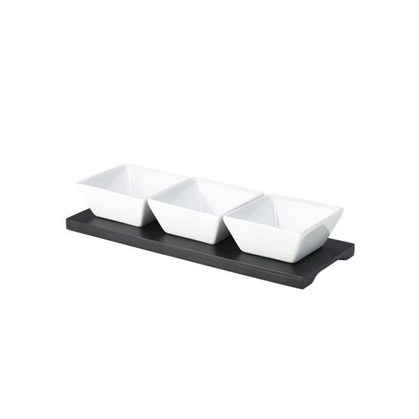 Black Rectangular Wood Dip Tray & 3 Dishes 4 Set Pack