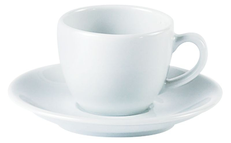 Porcelite White Bowl Shaped Cups 9cl