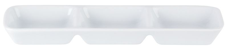 Porcelite White Three Division Dip Tray 20 x 6.5cm
