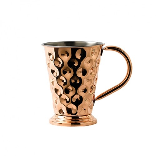 Copper Dented Mug wide base with Nickel Lining 48cl/17oz