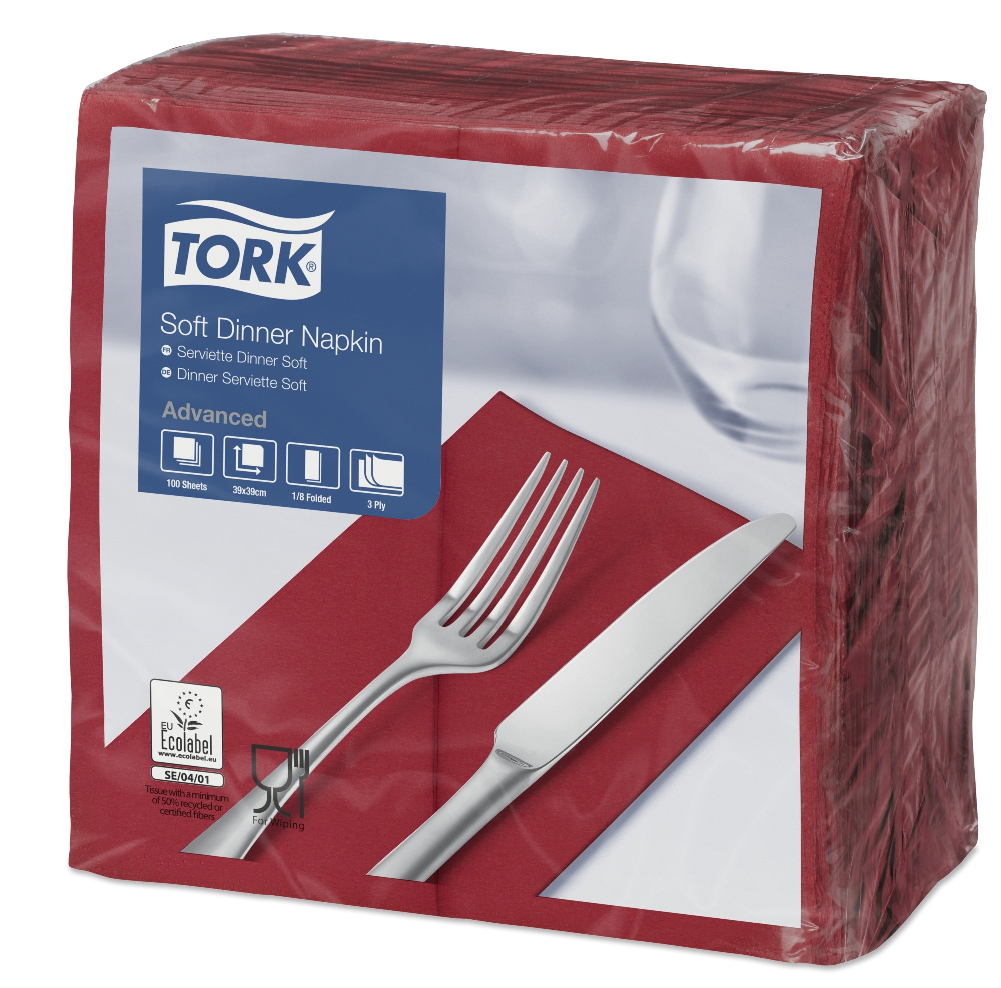 Tork Bordeaux Dinner Napkins 39cm 3ply 8 Fold