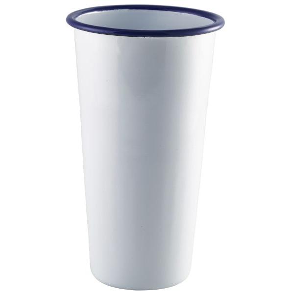 Enamel Tall Tumbler White with Blue Rim 40cl / 14oz