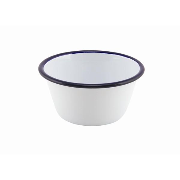 Enamel Deep Pie Dish White with Blue Rim 12cm