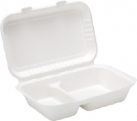 Bagasse 2 Compartment Lunch Box 9 x 6inch