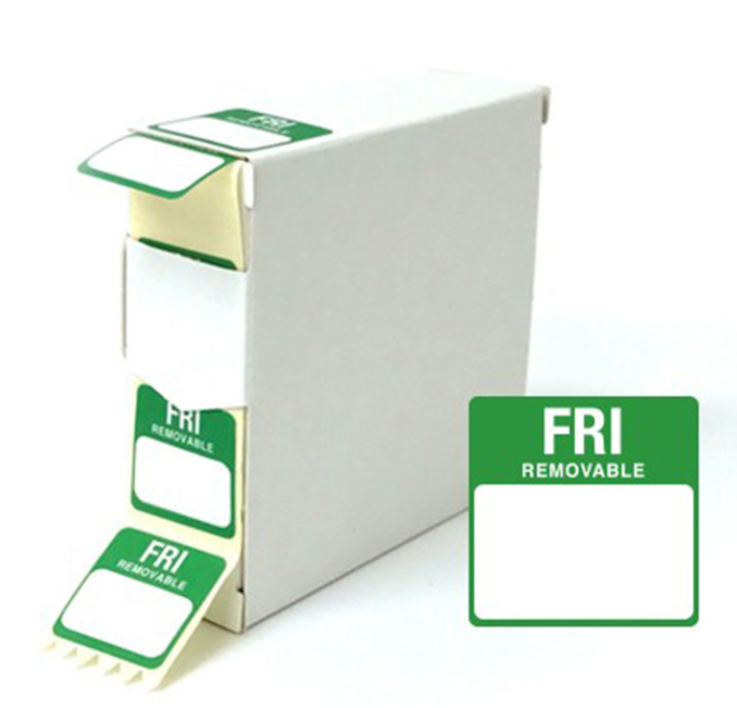 Food Labels Square Friday 25x25mm Green