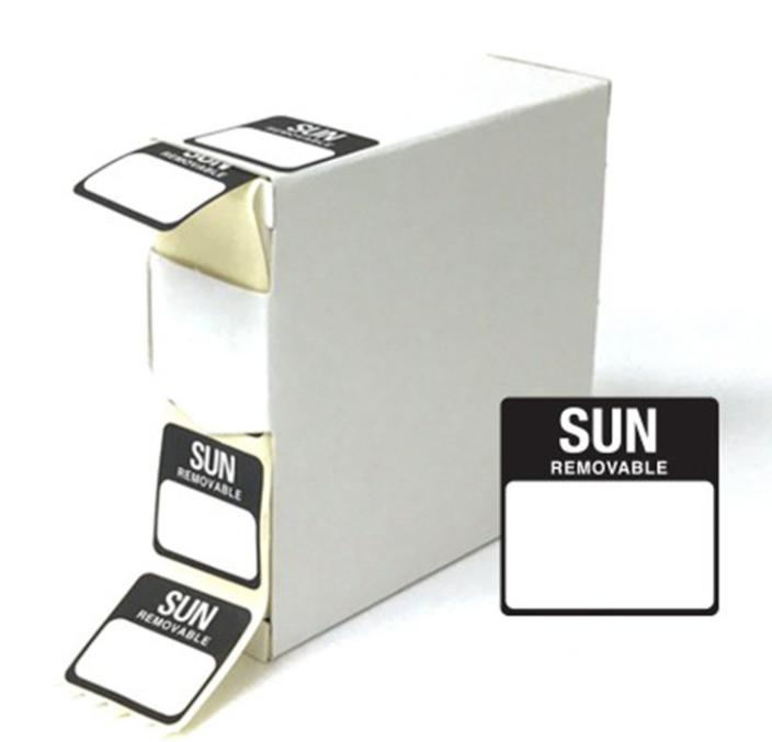 Food Labels Square Sunday 25x25mm Black