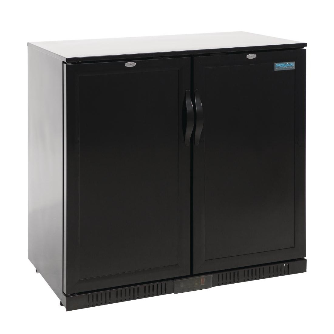 Polar Back Bar Cooler Hinged Solid Door 208Ltr Black