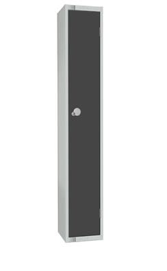 Elite Single Door Padlock Locker with Flat Top Graphite Grey 450mm