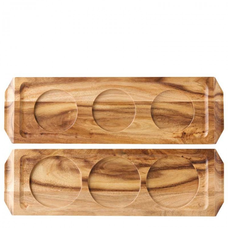 Acacia Wood Wine/Beer Flight 29 x 9cm
