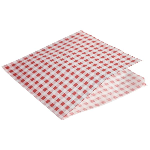 Red Gingham Print Greaseproof Paper Bags 17.5 x 17.5cm