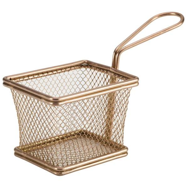 Rectangular Mini Serving Fry Basket Copper 10 x 8 x 7.5cm