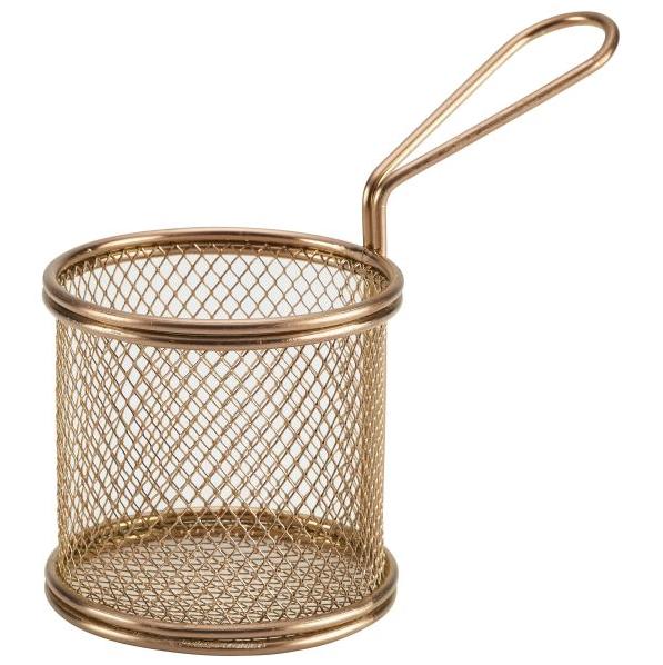 Round Mini Serving Fry Basket Copper 9.3 x 9cm