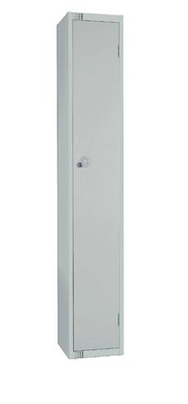 Elite Single Door Camlock Locker with Flat Top Grey 300mm