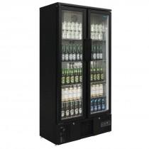 Polar Upright Back Bar Cooler Hinged Doors 490Ltr Black