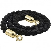 Barrier Rope Black- Brass Plated Ends 1.5m