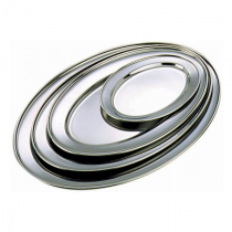 Stainless Steel Oval Meat Flat 22.5 x 16cm