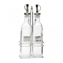 Square Oil & Vinegar Set with Chrome Stand