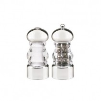 Lori Pepper Mill & Salt Shaker Set Acrylic & Chrome 14cm