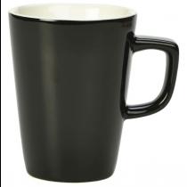 Handled Latte Mugs Black 12oz
