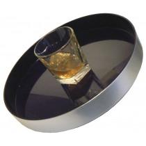 Non Slip Round Brushed Aluminium Effect Tray