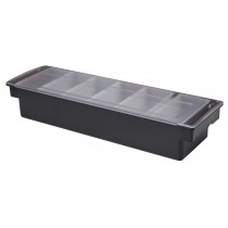Plastic Condiment Dispenser 6 Compartments Black