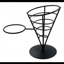 Black Wire French Fry Cone with Ramekin Holder