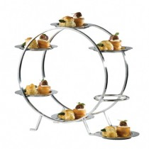 Ferris Wheel Food Stand with 6 Stainless Steel Plates