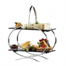 2 Tier Stainless Steel and Acrylic Cake Stand