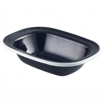 Enamel Pie Dish Black with White Rim 18cm