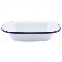 Enamel Rectangular Pie Dish White with Blue Rim 20cm