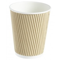Kraft Ripple Disposable Paper Coffee Cup 12oz / 340ml