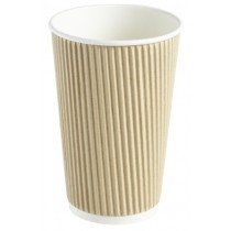 Kraft Ripple Disposable Paper Coffee Cup 16oz / 453ml
