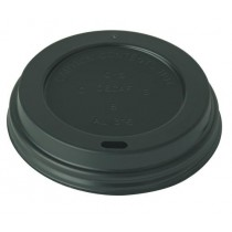 Black Domed Disposable Sip Thru Coffee Cup Lids 8oz