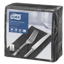 Tork Black Dinner Napkins 39cm 3ply 8 Fold