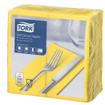 Tork Yellow Dinner Napkins 39cm 3ply 8 Fold