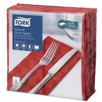 Tork Red Textured Dinner Napkin 8 Fold 2ply 39cm