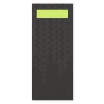 Tork Black Cutlery Bag With Lime Napkin 33cm