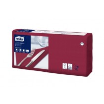 Tork 4 Fold Soft Bordeaux Red Lunch Napkin 33cm 3ply