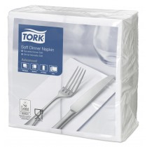 Tork White Dinner Napkins 39cm 3ply 8 Fold