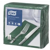 Tork Dark Green Dinner Napkins 39cm 3ply 8 Fold