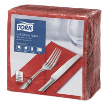 Tork Red Dinner Napkins 39cm 3ply 8 Fold