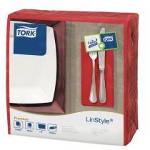 Tork Linstyle Red 8 Fold Dinner Napkin 39cm