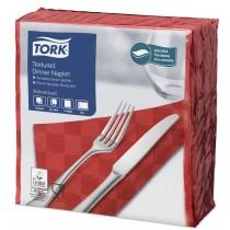 Tork Red Textured Dinner Napkin 4 Fold 2ply 39cm